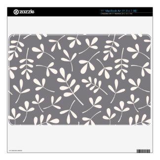 Assorted Leaves Pattern Cream on Grey MacBook Skin