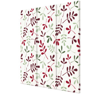Assorted Leaves Pattern Reds & Greens on Cream Canvas Print
