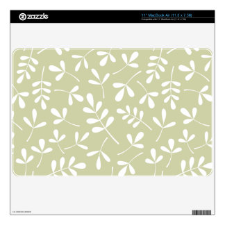 """Assorted Leaves Pattern White on Lime 11"""" MacBook Air Decal"""