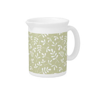 Assorted Leaves Pattern White on Lime Beverage Pitchers