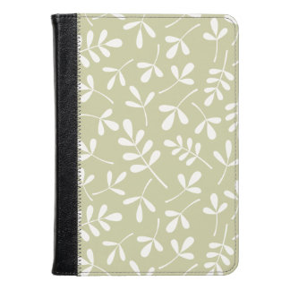 Assorted Leaves Pattern White on Lime Kindle Case