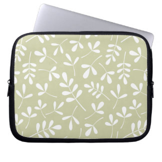 Assorted Leaves Pattern White on Lime Laptop Sleeve