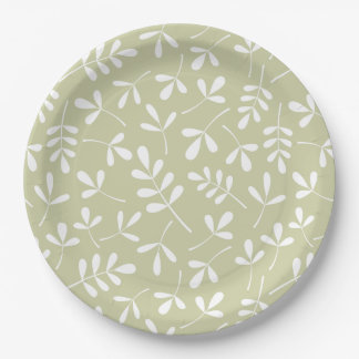 Assorted Leaves Pattern White on Lime Paper Plate