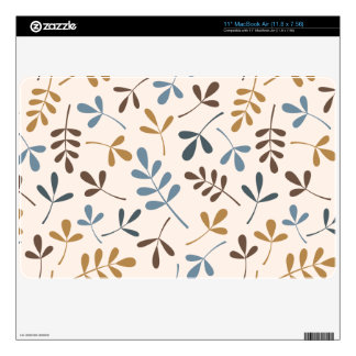 """Assorted Leaves Ptn Blues Brown Gold Cream 11"""" MacBook Air Decal"""