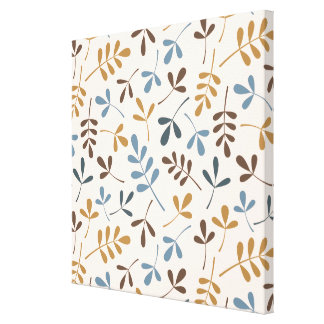 Assorted Leaves Ptn Blues Brown Gold Cream Canvas Print