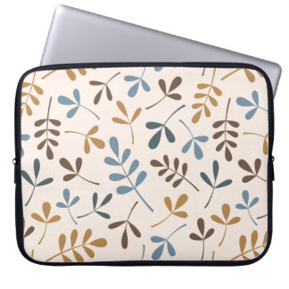 Assorted Leaves Ptn Blues Brown Gold Cream Computer Sleeve