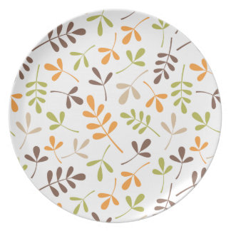 Assorted Leaves Ptn Brown Orange Green Sand White Dinner Plate