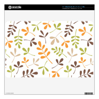 Assorted Leaves Ptn Brown Orange Green Sand White MacBook Air Skins