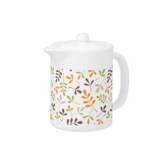 Assorted Leaves Ptn Brown Orange Green Sand White Teapot