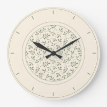 Assorted Leaves Ptn Green on Cream & Surround Large Clock