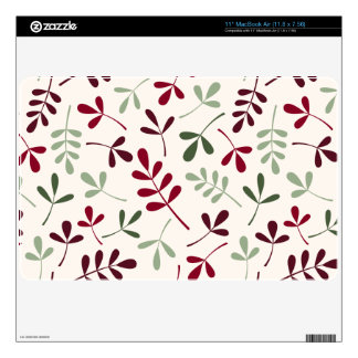 """Assorted Leaves Ptn Reds & Greens on Cream 11"""" MacBook Air Decals"""