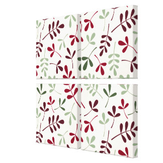 Assorted Leaves Ptn Reds & Greens on Cream Canvas Print
