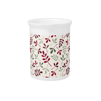 Assorted Leaves Ptn Reds & Greens on Cream Drink Pitchers