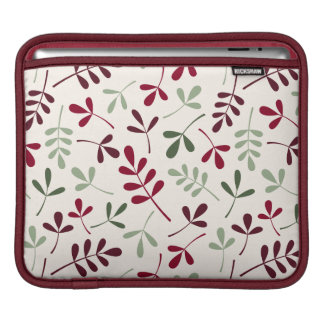 Assorted Leaves Ptn Reds & Greens on Cream iPad Sleeve