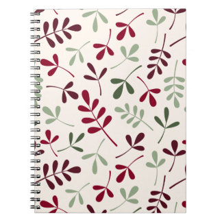 Assorted Leaves Ptn Reds & Greens on Cream Notebook