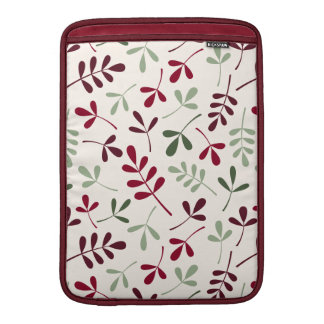 Assorted Leaves Ptn Reds & Greens on Cream Sleeve For MacBook Air