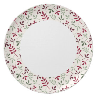 Assorted Leaves Reds & Grns on Crm Rpt Ptn Edge Melamine Plate