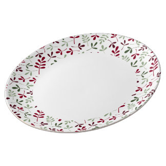Assorted Leaves Reds & Grns on Crm Rpt Ptn Edge Porcelain Plate