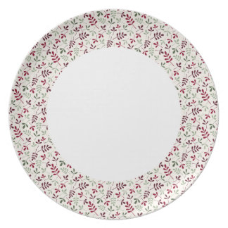 Assorted Leaves Reds & Grns on Crm Sml Ptn Edge Dinner Plate