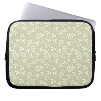 Assorted Leaves Repeat Pattern White on Lime Computer Sleeve