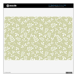 Assorted Leaves Repeat Pattern White on Lime Decals For The MacBook