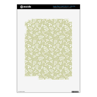 Assorted Leaves Repeat Pattern White on Lime Skin For iPad 3