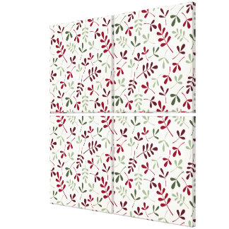 Assorted Leaves Repeat Ptn Reds & Greens on Cream Canvas Print