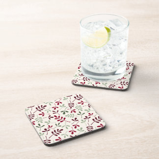 Assorted Leaves Repeat Ptn Reds & Greens on Cream Drink Coaster