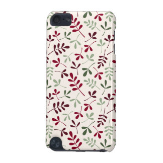 Assorted Leaves Repeat Ptn Reds & Greens on Cream iPod Touch 5G Covers