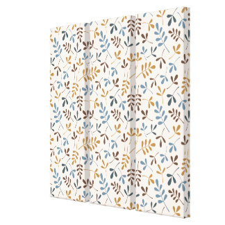 Assorted Leaves Rpt Ptn Blues Brown Gold Cream Canvas Print