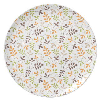 Assorted Leaves Rpt Ptn Brwn Orange Grn Sand White Dinner Plate