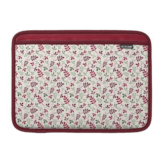 Assorted Leaves Small Ptn Reds & Greens on Cream MacBook Air Sleeve