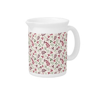 Assorted Leaves Small Ptn Reds & Greens on Cream Pitcher