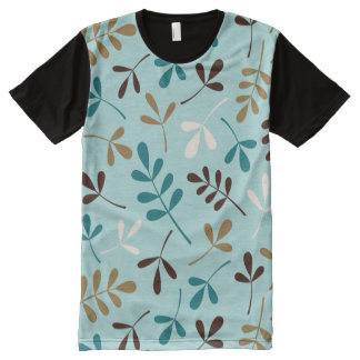 Assorted Leaves Teals Cream Gold Brown Big Ptn All-Over Print Shirt