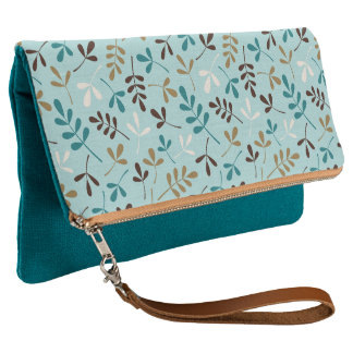 Assorted Leaves Teals Cream Gold Brown Ptn Clutch
