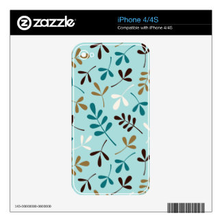 Assorted Leaves Teals Cream Gold Brown Ptn Decals For iPhone 4S