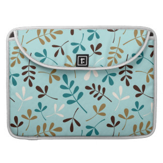 Assorted Leaves Teals Cream Gold Brown Ptn MacBook Pro Sleeve