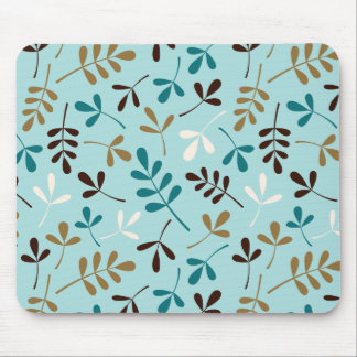 Assorted Leaves Teals Cream Gold Brown Ptn Mouse Pad