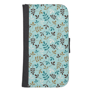 Assorted Leaves Teals Cream Gold Brown Rpt Ptn Phone Wallets