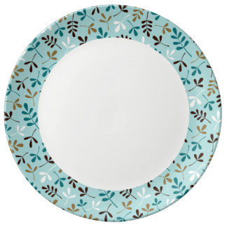 Assorted Leaves Teals Crm Gld Brwn Rpt Ptn Edge Dinner Plate