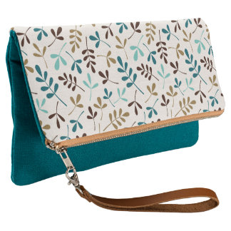 Assorted Leaves Teals Gold Brown on Cream Ptn Clutch