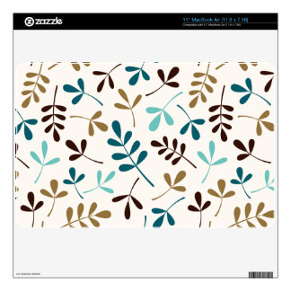 Assorted Leaves Teals Gold Brown on Cream Ptn Decals For The MacBook