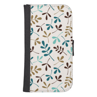 Assorted Leaves Teals Gold Brown on Cream Ptn Galaxy S4 Wallets