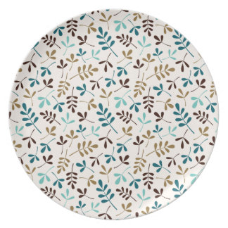Assorted Leaves Teals Gold Brown on Cream Ptn Melamine Plate