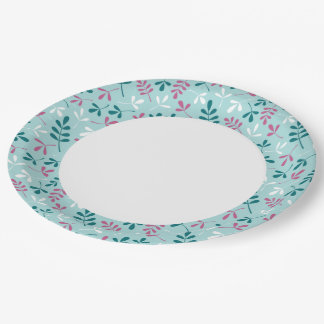 Assorted Leaves Teals Pink White Rpt Ptn Edge Paper Plate