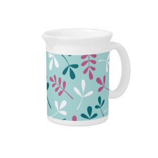 Assorted Leaves Teals White Pink Big Pattern Pitchers