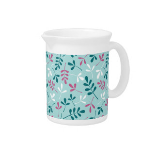Assorted Leaves Teals White Pink Pattern Beverage Pitcher