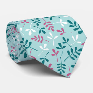Assorted Leaves Teals White Pink Pattern Neck Tie