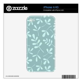 Assorted Light on Mid Teal Leaves Design Skins For iPhone 4S