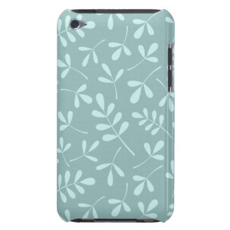 Assorted Light on Mid Teal Leaves Pattern Barely There iPod Cover
